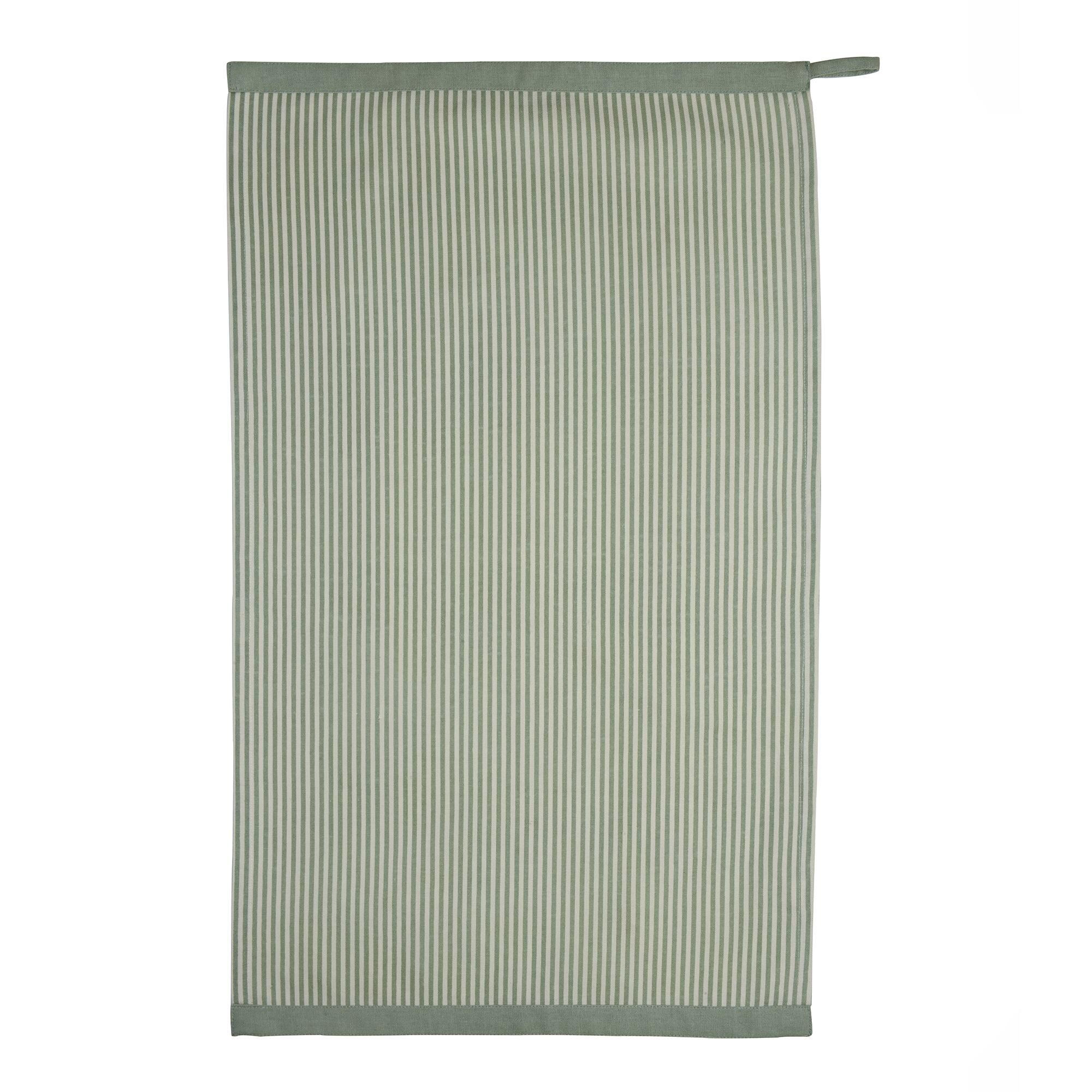 GREEN WHITE STRIPPED TEA TOWEL